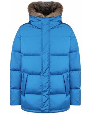 Куртка с капюшоном с отделкой мехом кролика синяя Lempelius