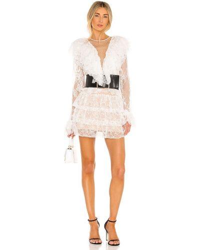 Шелковое кружевное белое платье мини Bronx And Banco