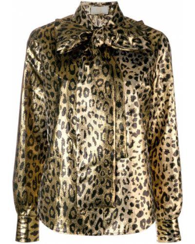Блузка с длинным рукавом с леопардовым принтом с бантом Sara Battaglia