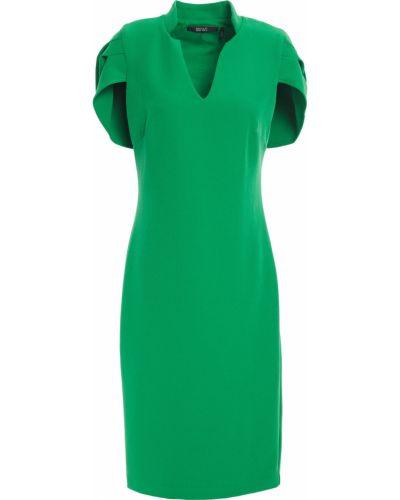 Плиссированное зеленое платье стрейч Badgley Mischka