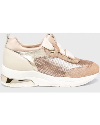 Кожаные кроссовки с пайетками текстильные Liu Jo