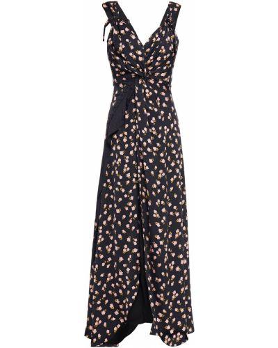 Черное платье макси с подкладкой из вискозы Self-portrait