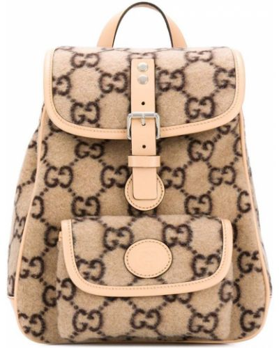 Бежевый кожаный рюкзак с карманами Gucci Kids