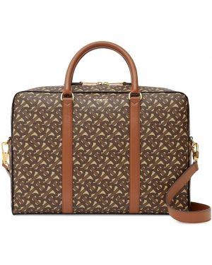 Кожаный коричневый портфель на молнии Burberry