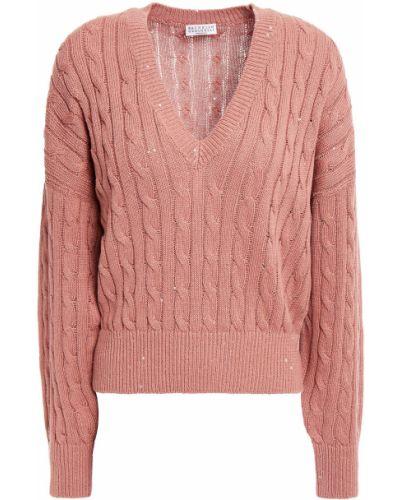 Ватный льняной свитер с пайетками Brunello Cucinelli