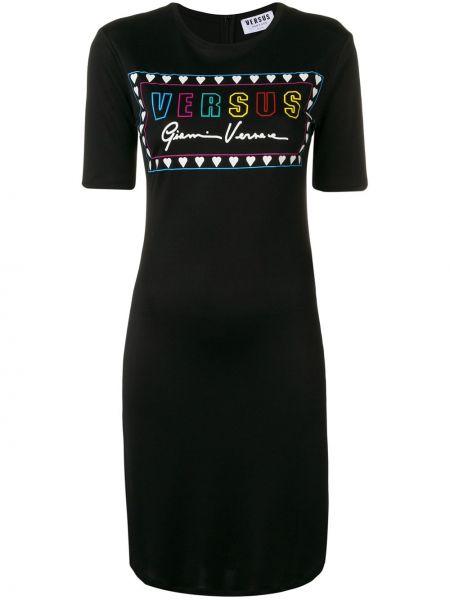 Черное футбольное платье на молнии с вырезом Versus