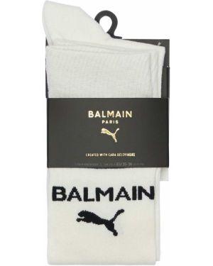Prążkowane białe skarpety Puma X Balmain