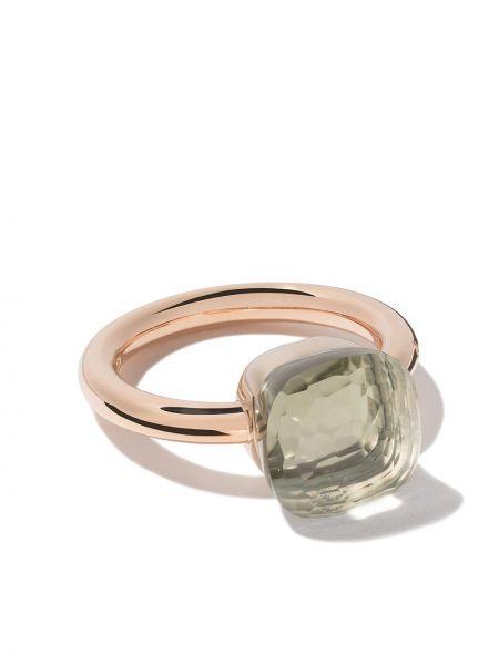 Biały klasyczny złoty pierścionek Pomellato