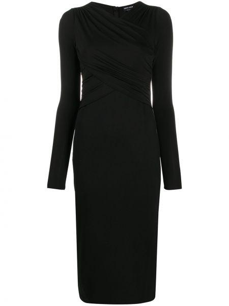 Приталенное платье миди с V-образным вырезом на молнии с драпировкой Giorgio Armani