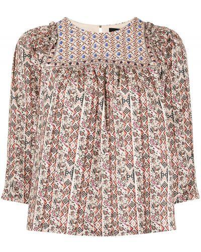 Brązowa bluzka z haftem bawełniana Nicole Miller