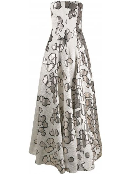 Серебряное платье жаккардовое без бретелек Talbot Runhof