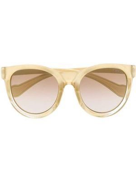 Прямые муслиновые желтые солнцезащитные очки Moncler Eyewear
