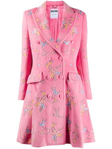 Розовое шерстяное длинное пальто двубортное Moschino