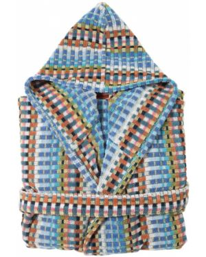 Niebieski szlafrok bawełniany z kapturem Missoni