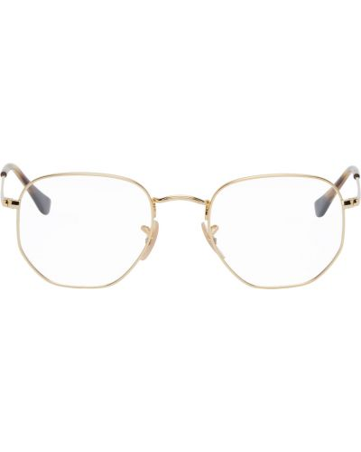 Złote różowe okulary Ray-ban