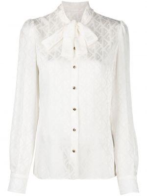 Шелковая белая блузка с бантом Dolce & Gabbana