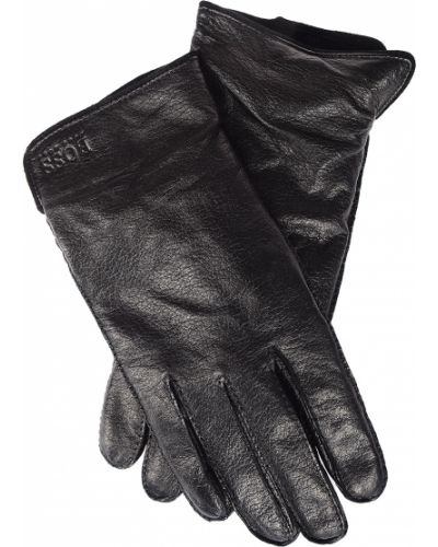 Черные кожаные перчатки Hugo Boss