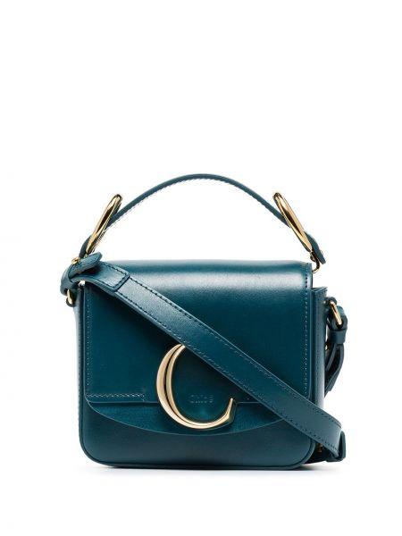 Z paskiem skórzany niebieski torba kosmetyczna z klamrą Chloe