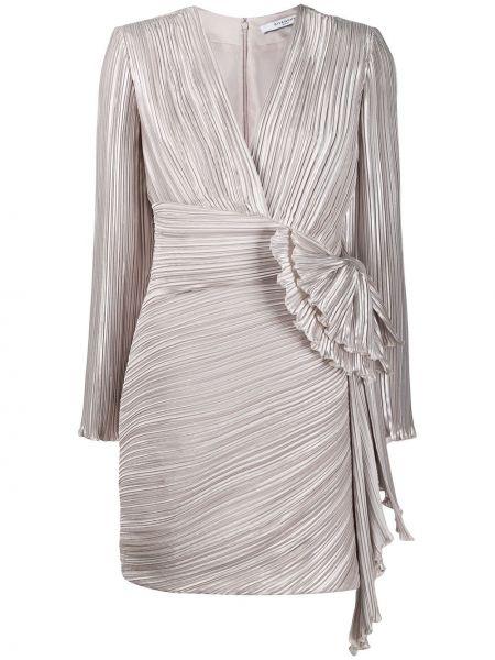 Шелковое плиссированное серое платье со вставками Givenchy