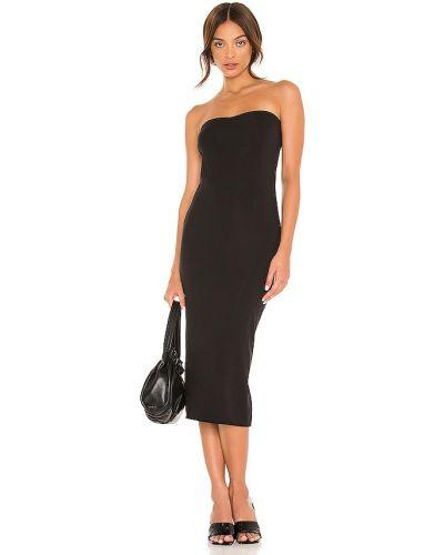 Трикотажное черное платье с декольте Skin