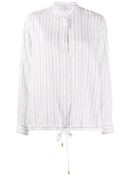 Bluzka z długim rękawem w paski biała Peserico