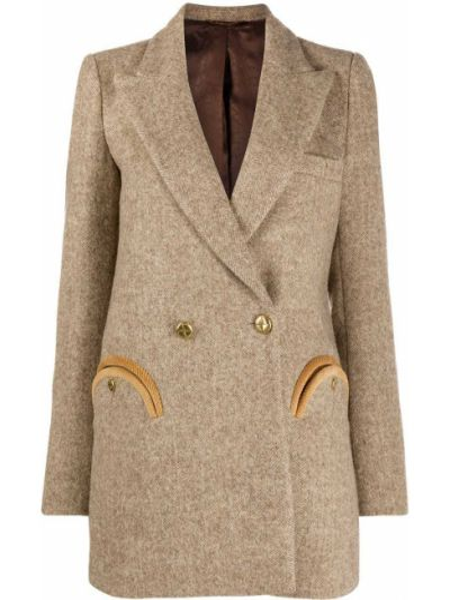 Шерстяной бежевый прямой пиджак с карманами Blazé Milano