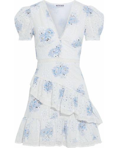 Biała sukienka mini z printem Walter Baker
