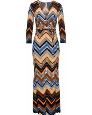 Платье с поясом с длинными рукавами Bonprix