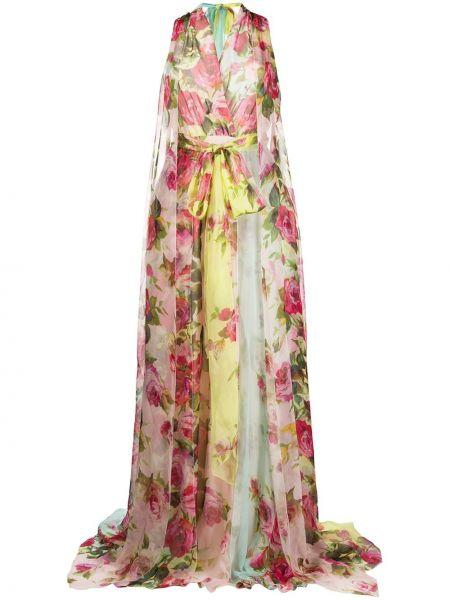 Розовое платье с V-образным вырезом без рукавов на молнии Blumarine