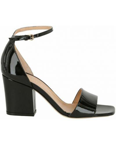 Czarne sandały na obcasie Sergio Rossi