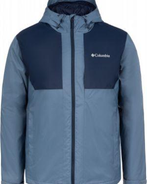 Прямая синяя нейлоновая утепленная куртка на молнии Columbia