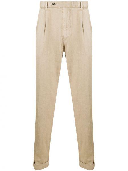 Льняные брюки дудочки с поясом с манжетами Dell'oglio