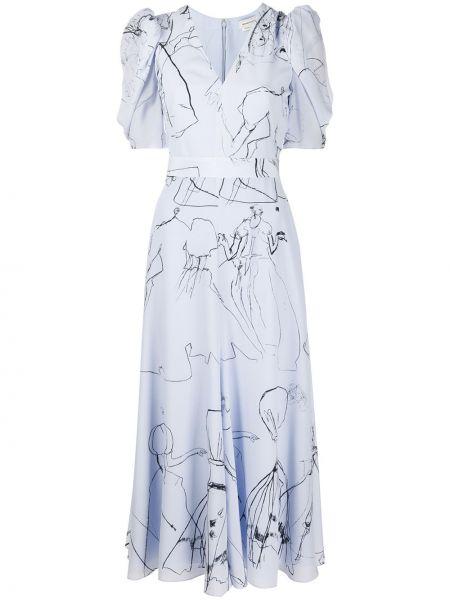 Платье мини миди с V-образным вырезом Alexander Mcqueen