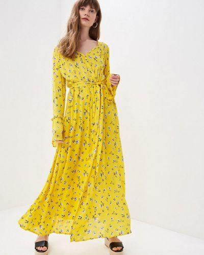 Платье с запахом желтый Sweewe