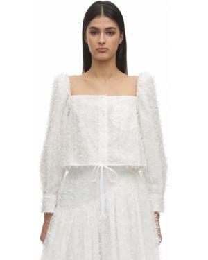 Biały crop top z długimi rękawami bawełniany Pushbutton