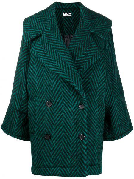 Зеленое шерстяное длинное пальто на пуговицах свободного кроя Alaïa Pre-owned