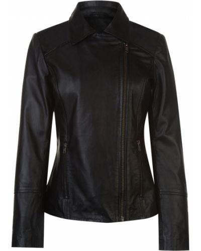 Czarna kurtka skórzana asymetryczna Firetrap