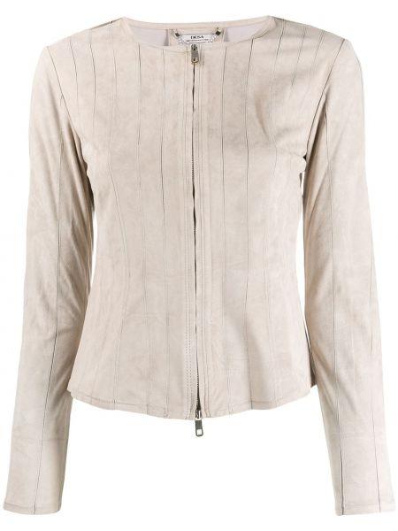Серый деловой приталенный пиджак на молнии Desa 1972