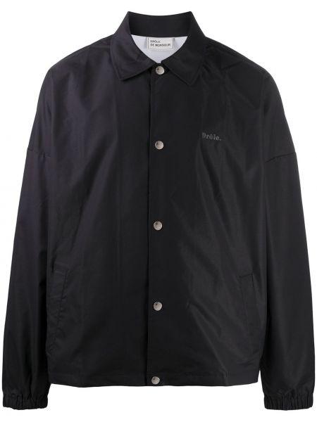 Klasyczna czarna długa kurtka z długimi rękawami Drole De Monsieur