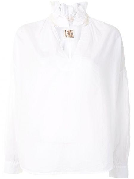 Хлопковая белая блузка с длинным рукавом с V-образным вырезом с манжетами A Shirt Thing
