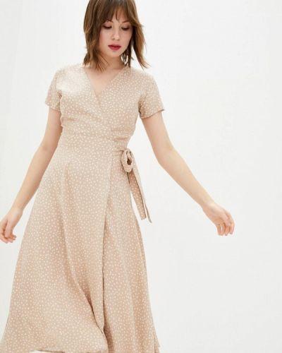 Бежевое платье с запахом Ora