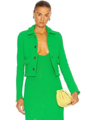 Кожаная куртка сетчатая - зеленая Bottega Veneta