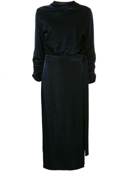 Синяя юбка миди с разрезом в рубчик из вискозы Sally Lapointe
