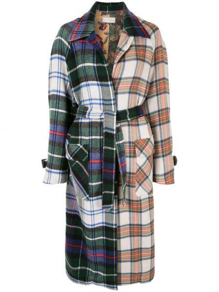 Шерстяное пальто классическое в клетку с воротником Pierre-louis Mascia