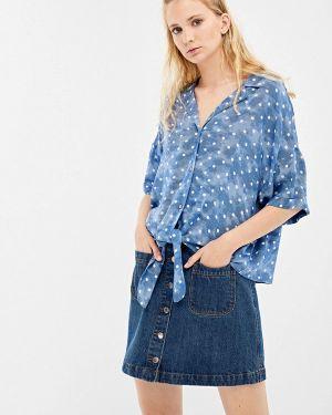Блузка с коротким рукавом синяя весенний Springfield