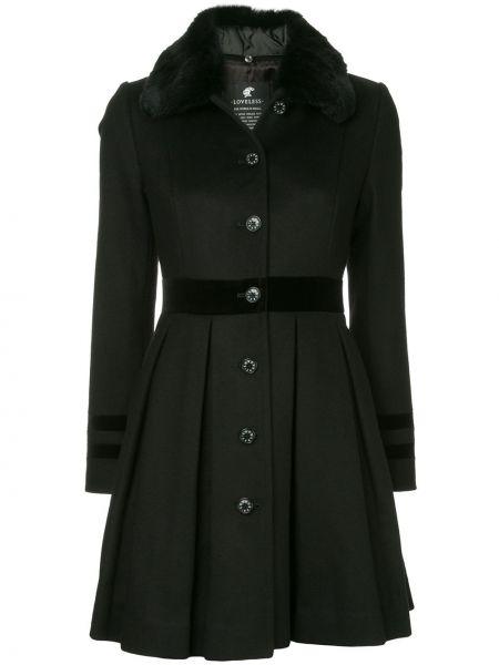 Шерстяное черное длинное пальто с капюшоном Loveless