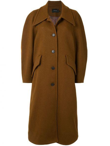 Коричневое шерстяное пальто классическое оверсайз Low Classic