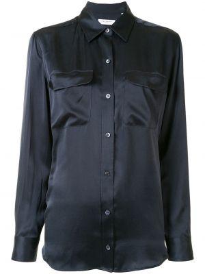 С рукавами синяя шелковая классическая рубашка с воротником Equipment