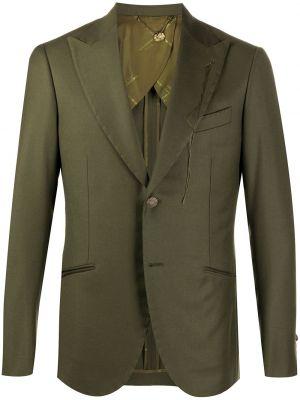 Зеленый однобортный пиджак с карманами на пуговицах Maurizio Miri