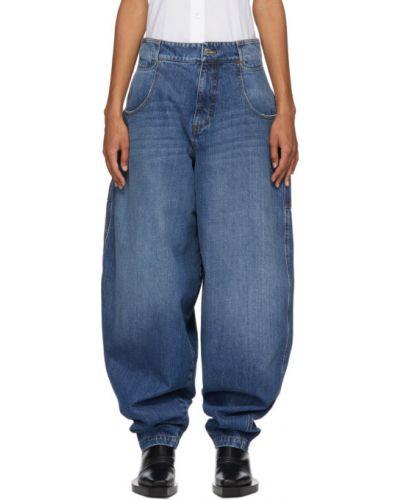 Оранжевые мешковатые широкие джинсы стрейч с заплатками Telfar